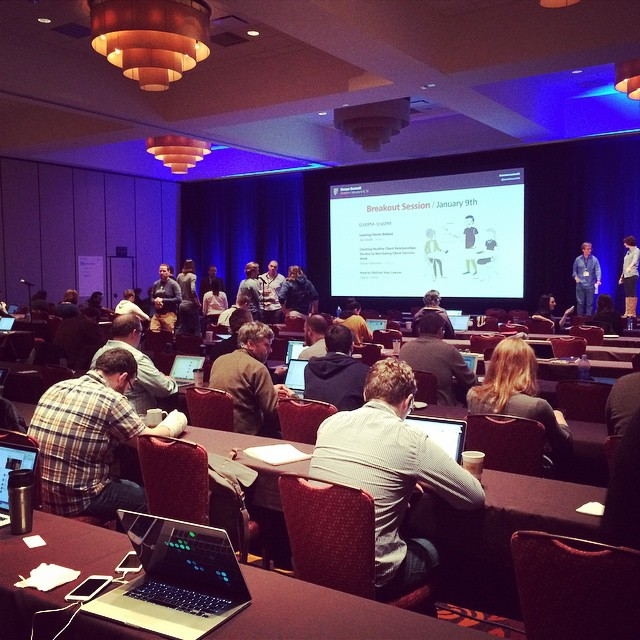 Our group working and socializing between sessions. #ownersummit by ownersummit.jpg