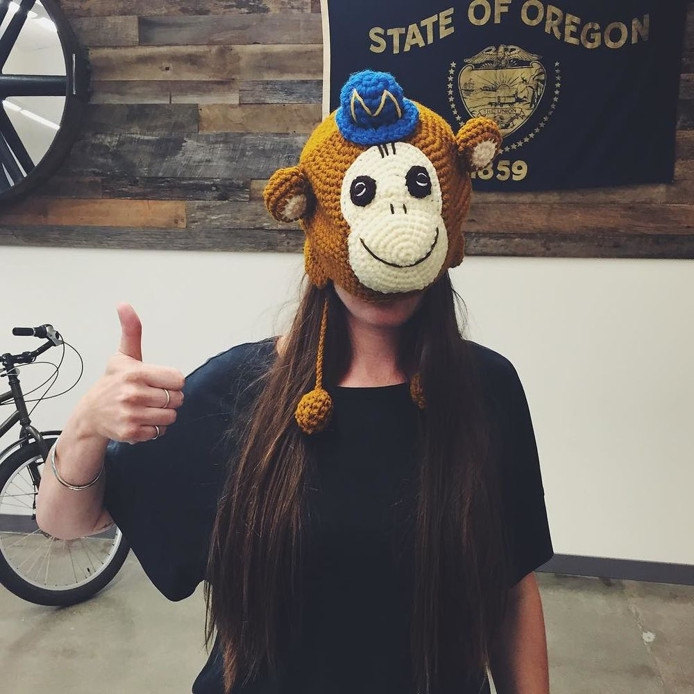 #flashbackfriday to when our producer @essienagler went to #dpm2015 and got this monkey hat. %0AEssie see, Essie do. %0A#struckpdx #struckpeeps by struck.jpg