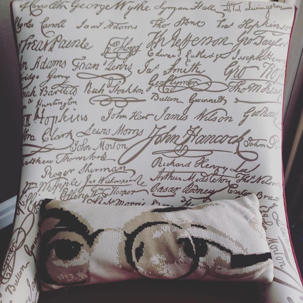 No question I'm in Philly with the constitution signature print chair and Ben Franklin eyes throw pillow. #dpm2015 by torriobert.jpg