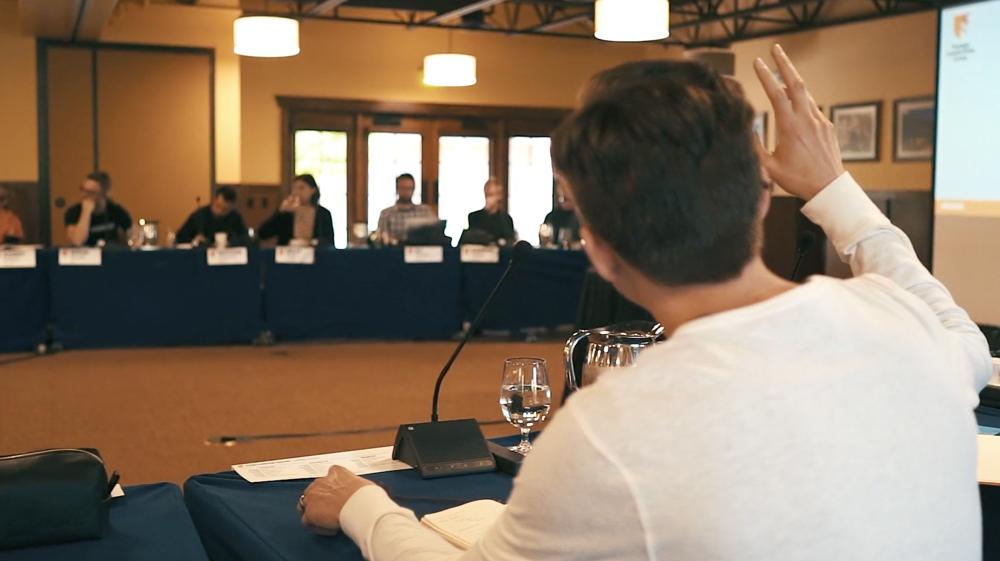 A facilitated conversation at Design Leadership Camp in Gateway Canyons