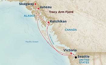 Ports: Seattle, Washington | Ketchikan, Alaska | Tracy Arm Fjord, Alaska (Scenic Cruising) | Juneau, Alaska | Skagway, Alaska | Victoria, British Columbia, Canada