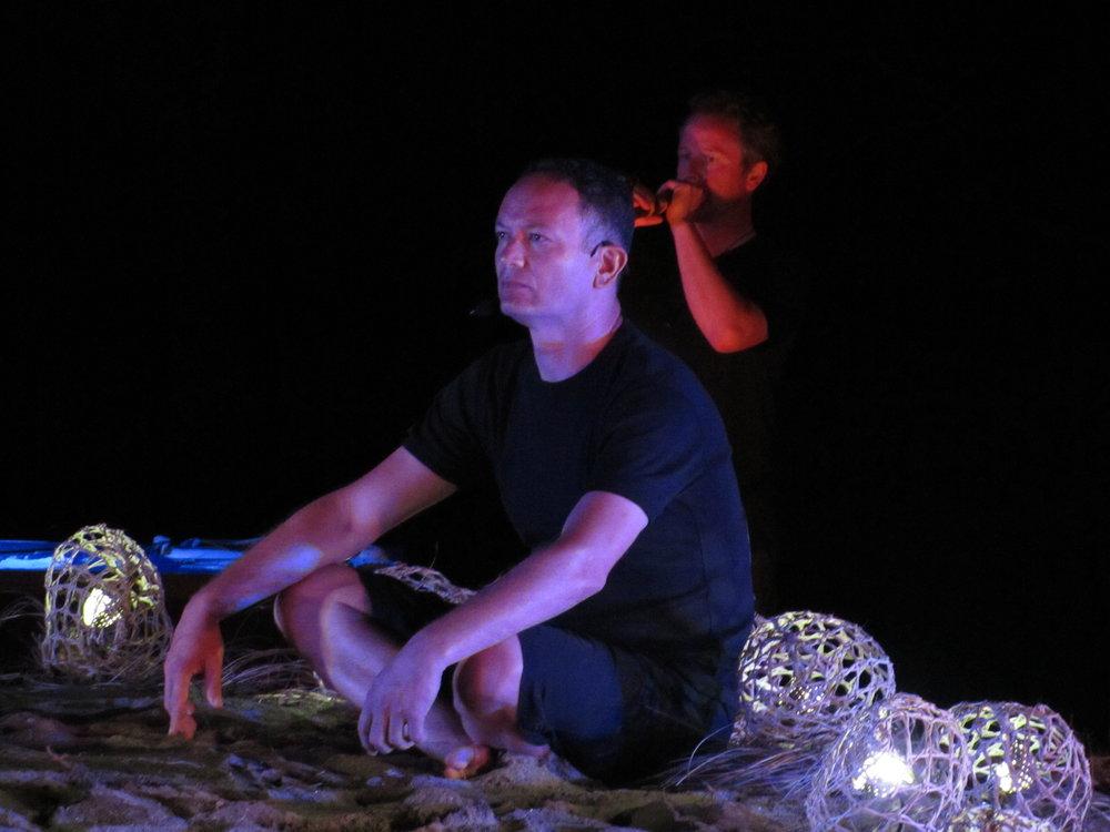 Performing at the whare tapere at Waimangō, Wharekawa, Hauraki, 2011