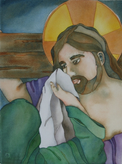 A Woman Wipes The Face Of Jesus