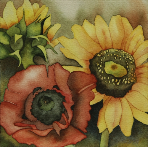 Autumn Sunflowers & Poppy