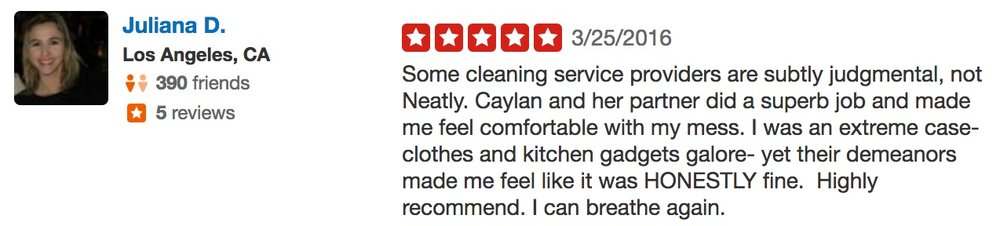 Juliana D. Neatly Cleaning yelp review 5 stars good enough quality.jpg