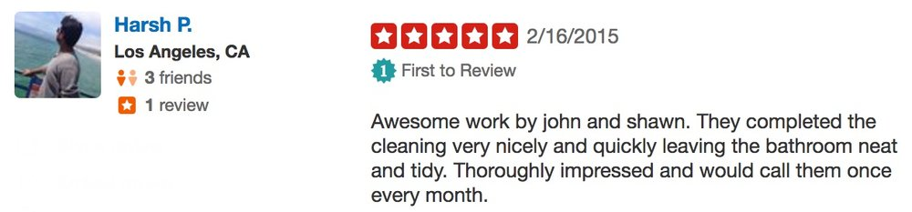 Harsh P. Neatly Cleaning yelp review 5 stars good enough quality.jpg