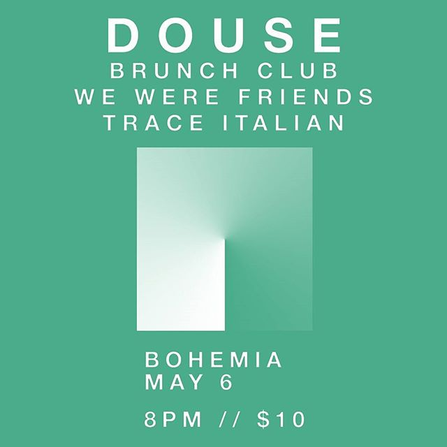 "EDMONTON! We're going to be playing our first local show this year at Bohemia with our good friends @douseband and new friends @brunchclubband and Trace Italian. Come on by and we'll ""Douse"" you with kisses and more bad puns.  Doors 8 // Bands 9:30 // 10 cash moneys  Event link in the bio!"