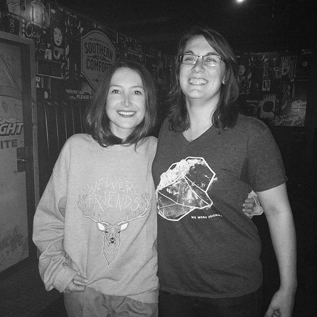MJ met Leah of @julytalk at their concert in Edmonton tonight! A sweater given and shots of Jameson taken. Thanks for being an amazing human being, @leah_fay !! 👥 #loveyourpants