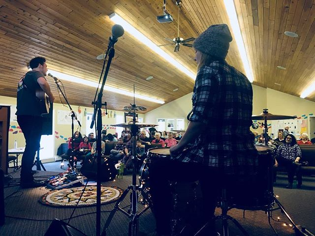Despite an injured wrist, a very early morning, and inclement weather, the show must go on!  We are proud to support a community that empowers youth through the outdoors. 🌲 Today we played a stripped down acoustic set at a fundraiser for @canyonchurchcamp, which was destroyed in the recent Kenow Fire in Waterton Lakes National Park.  The friends I (Clay) made and the experiences I had, have shaped me into the person and musician I am today. I