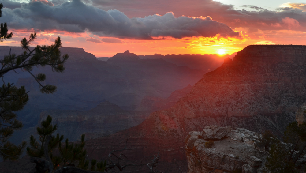 I.  Sunrise Moving gently from early illumination of the coming day, through the first gleams of light, and then finally the full light of the sun over the grandeur of the canyon.