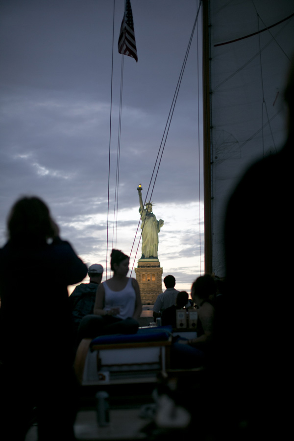 Lady Liberty standing proud off Ventura's bow.