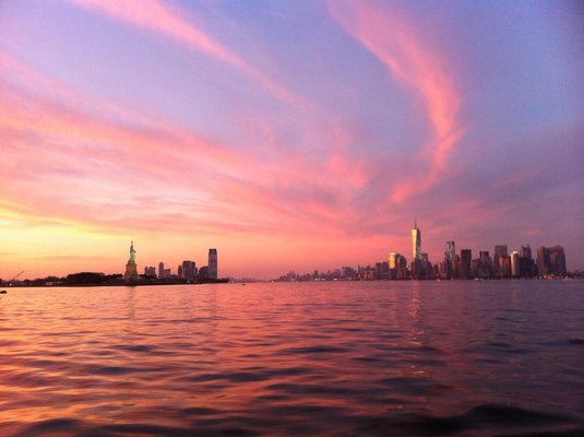 A perfect sunset aboard Ventura, looking at the New York City and Jersey City skylines.