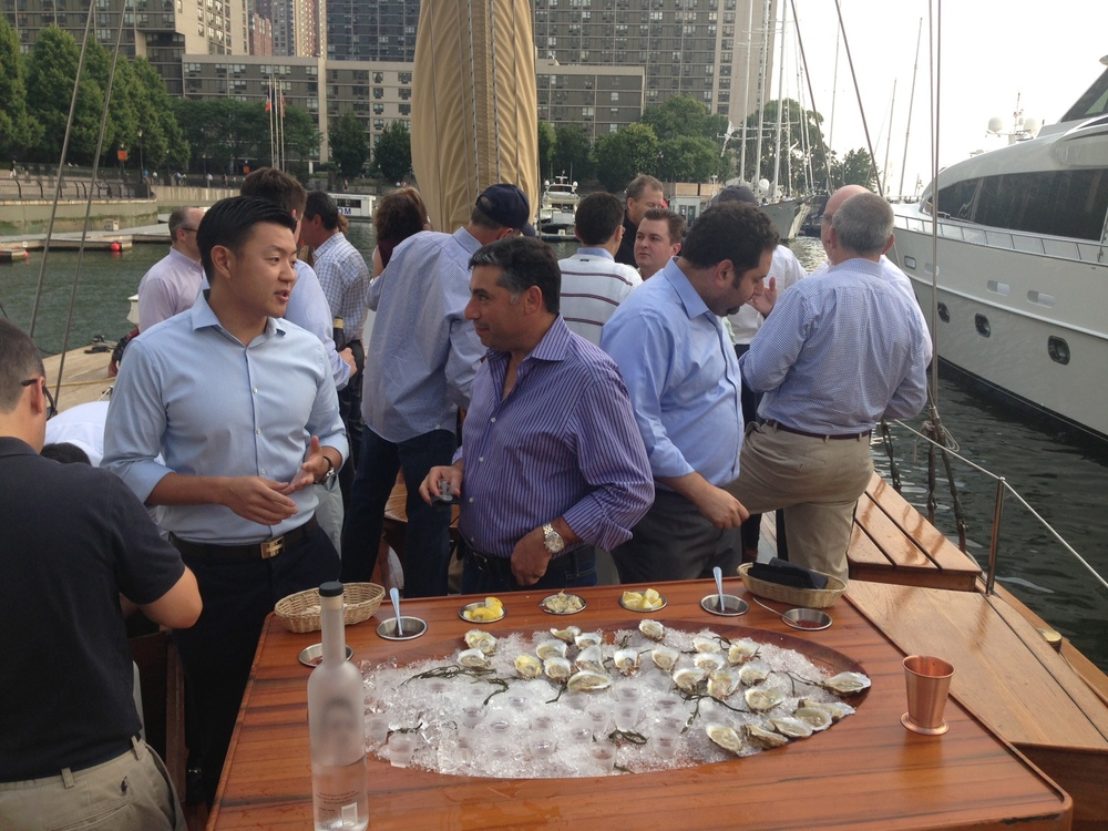 An oyster bar on the foredeck to kick off your private charter.