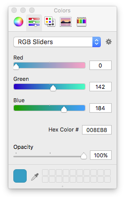 Color Panel from Xcode 8.x, an instance of NSColorPanel