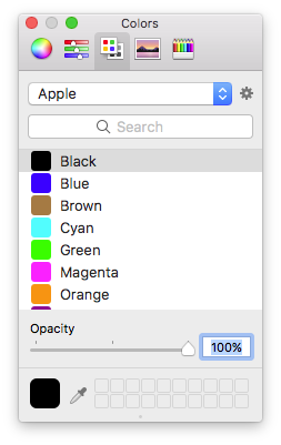 "Colors available in a list named ""Apple"""