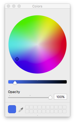 #1E70E7 in sRGB shown in a device independent color wheel