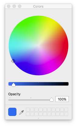 #1E70E7 in Display P3 shown in a device independent color wheel