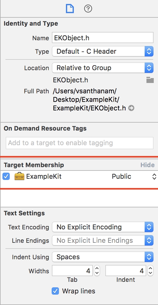 "The file identity and type inspector of a header file, ""EKObject.h"", in Xcode 9.x"