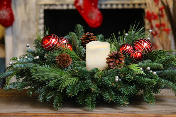 (with LED candle) This seasonal centerpiece, as pictured, is bursting with naturally scented mixed evergreens which stay fresh and moist from the floral foam base. The festive decorations are certain to delight your guests and lend a joyful air to your Holiday Celebrations!