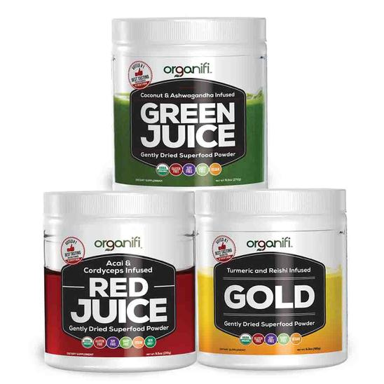 Organif green juice, Organifi red juice, Organifi gold