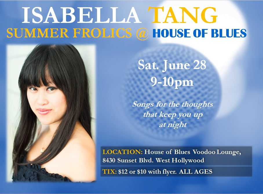 Los Angeles-based singer-songwriter Isabella Tang performing original live music at the House of Blues Hollywood, in the Voodoo Lounge
