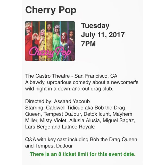 Hey guys if you want to watch @cherrypopfilm we will be playing at the Castro theater with a Q&A after the screening link in bio to get tickets