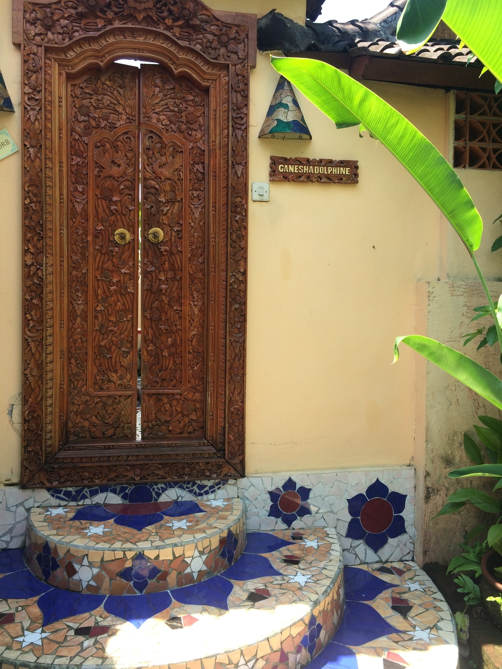 These Doors! Ganesha Dolphine...The entrance to my Room!