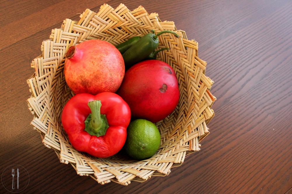 Salsa ingredients bowl