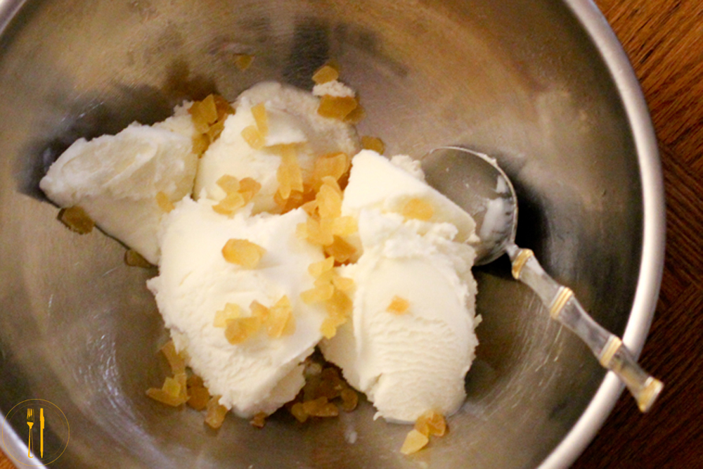 Candied ginger and greek frozen yogurt