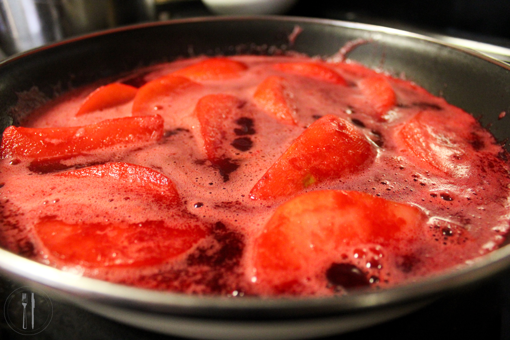 Poached pears in cran-raspberry puree