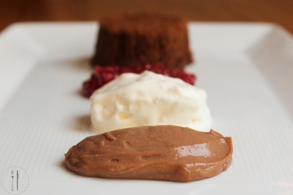 Deconstructed chocolate cake dessert