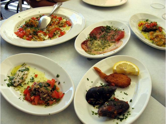 Seafood antipasti at La Lanterna Riomaggiore