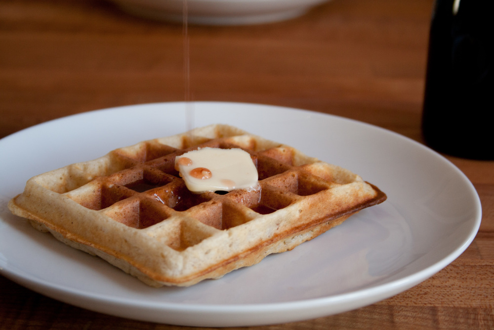 Waffle with raspberry-ginger syrup