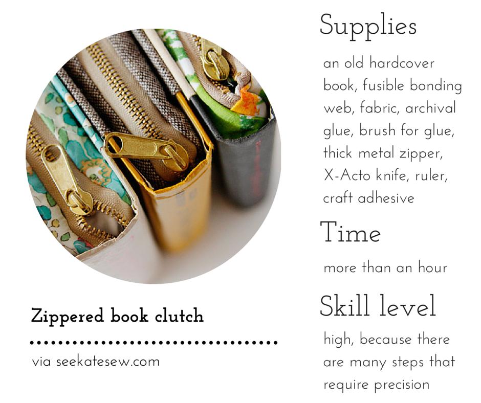 Zippered book clutch