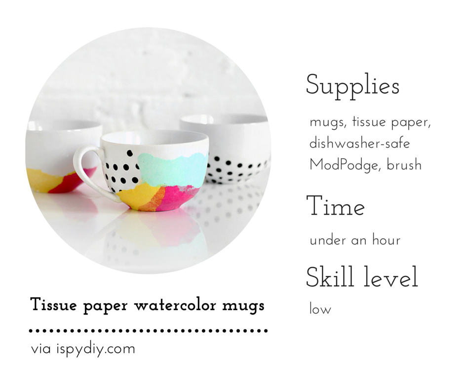 Tissue paper watercolor mugs