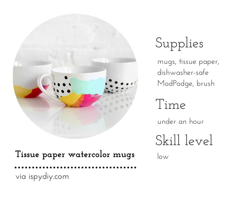 Tissue paper watercolor mugs