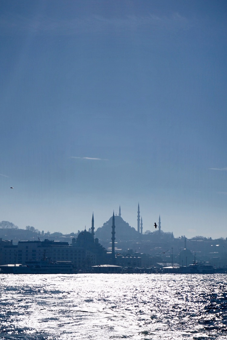 Looking back at the old city from aboard a Bosphorus ferry | www.paperplatesblog.com
