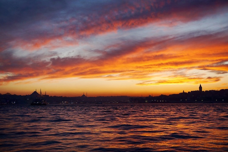 Istanbul's European side at sunset | www.paperplatesblog.com