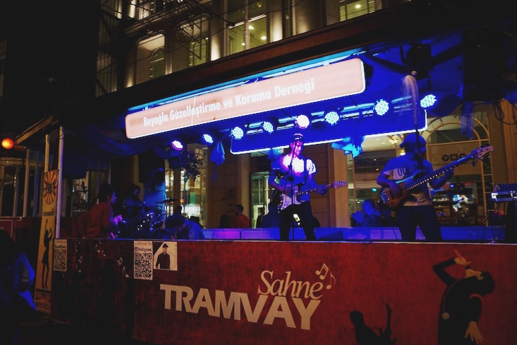 A rock cover band performs a live concert on a trolley rolling up and down Istiklal Ave. | www.paperplatesblog.com