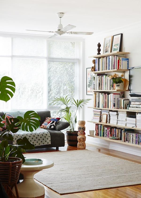 Open, breezy bookshelves