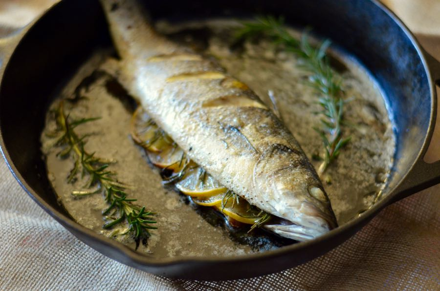 "A pan roasted-branzino to help you surivive ""California"" 