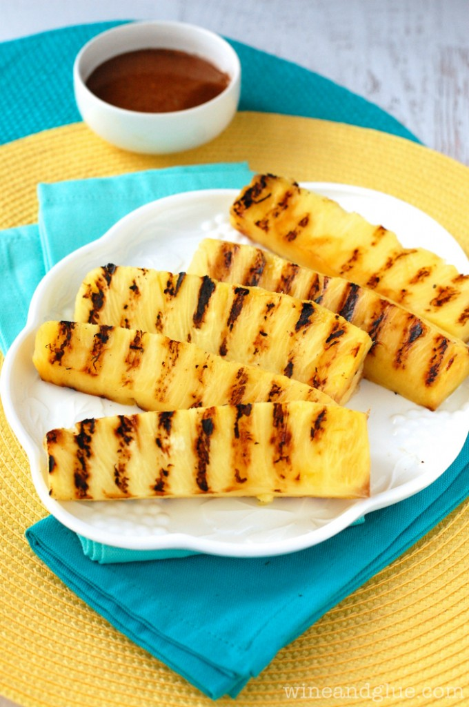 Grilled Pineapple with Cinnamon Honey Drizzle from Wine and Glue