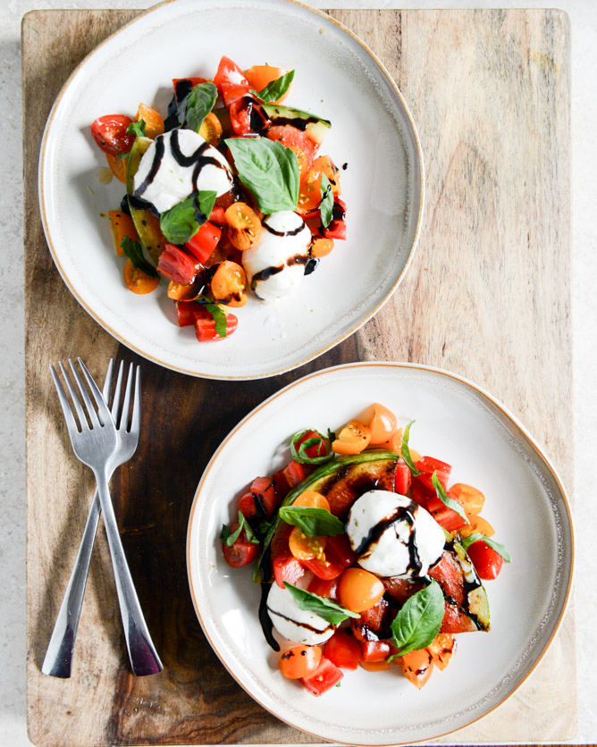 Honey grilled watermelon caprese salad from How Sweet Eats