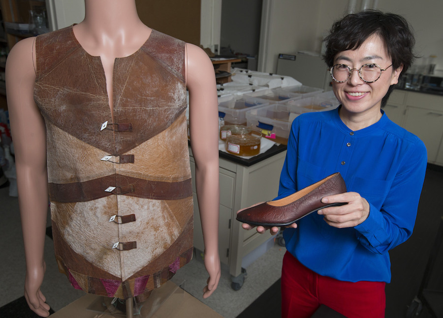 Designer Young-A Lee with SCOBY vest and shoe prototypes. Photo by Christopher Gannon.