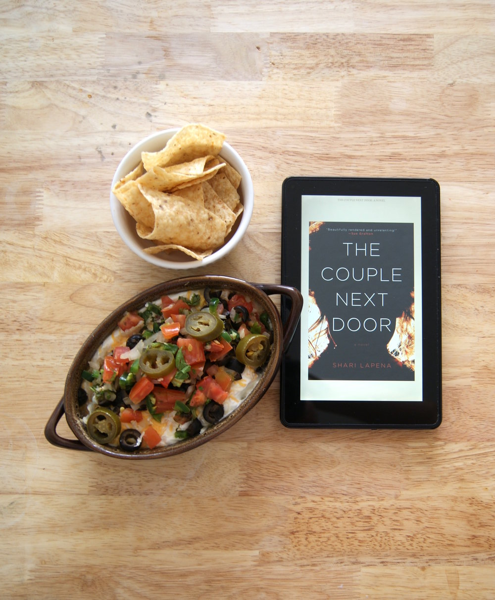 "Book club idea: ""The Couple Next Door"" by Shari Lapena & seven-layer dip"