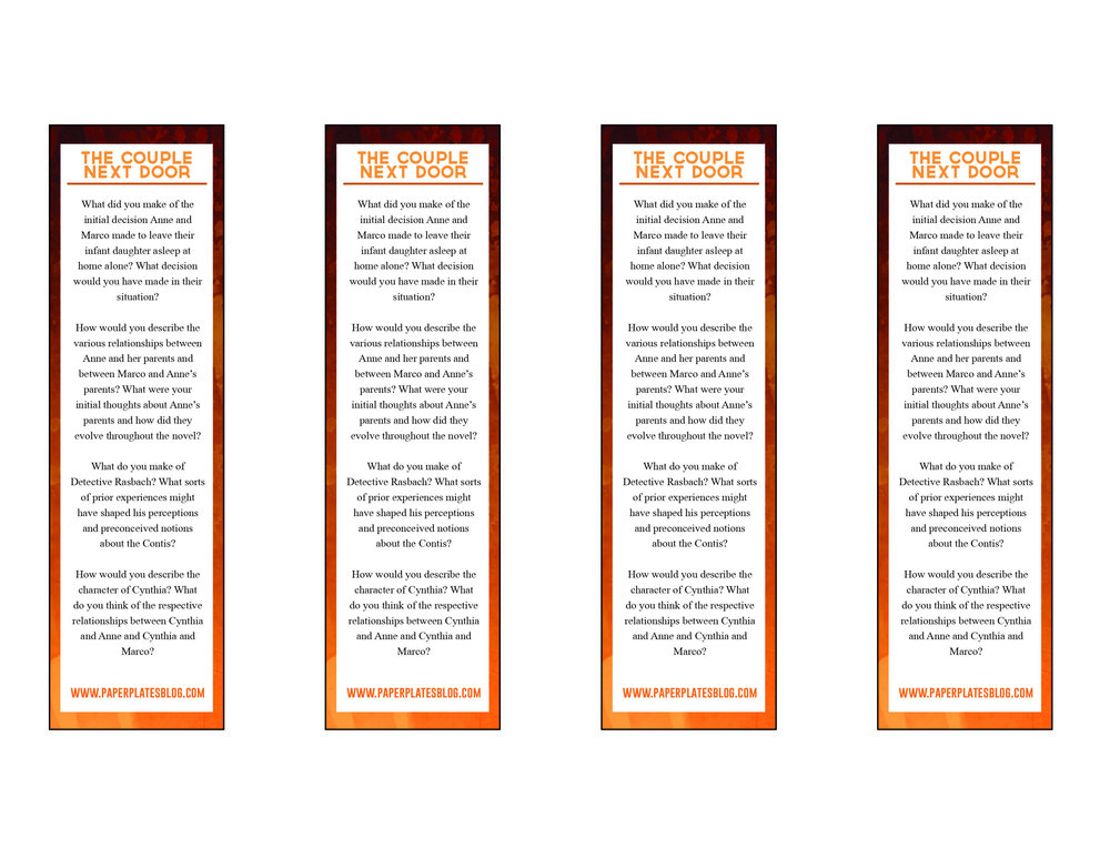 """The Couple Next Door"" free printable bookmark front"