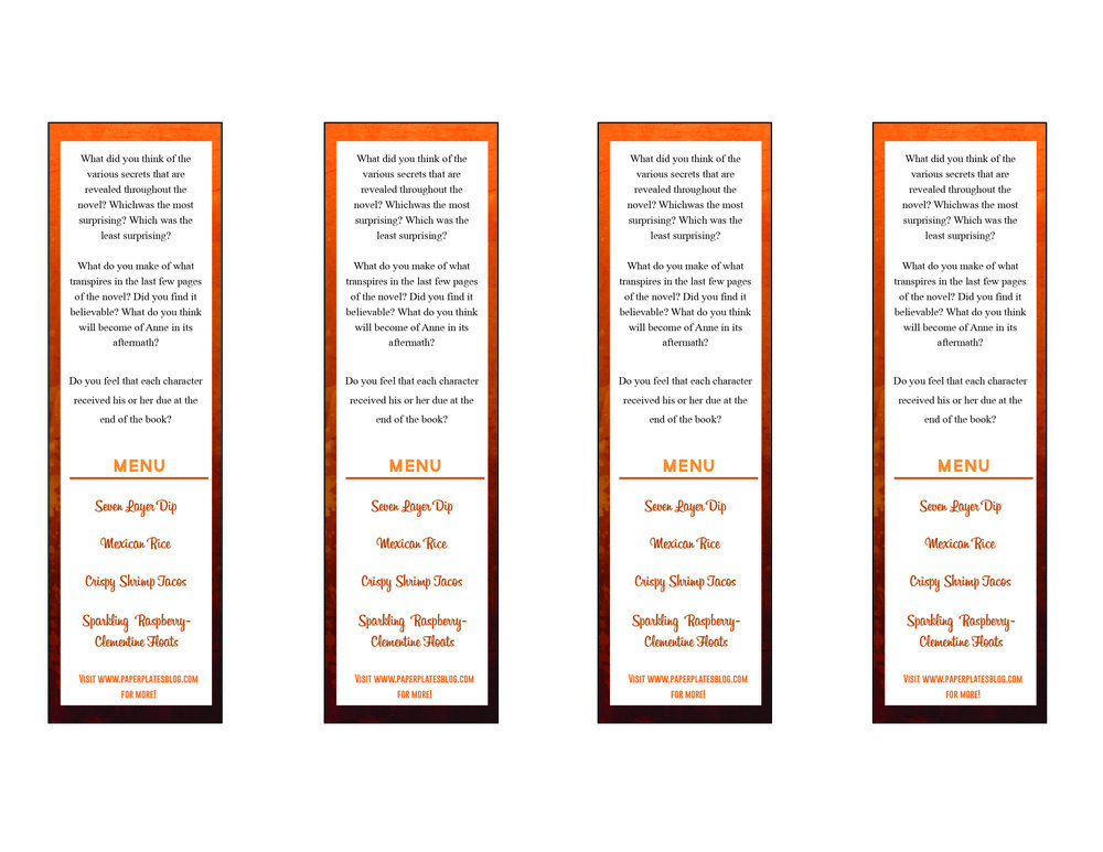 """The Couple Next Door"" free printable bookmark back"