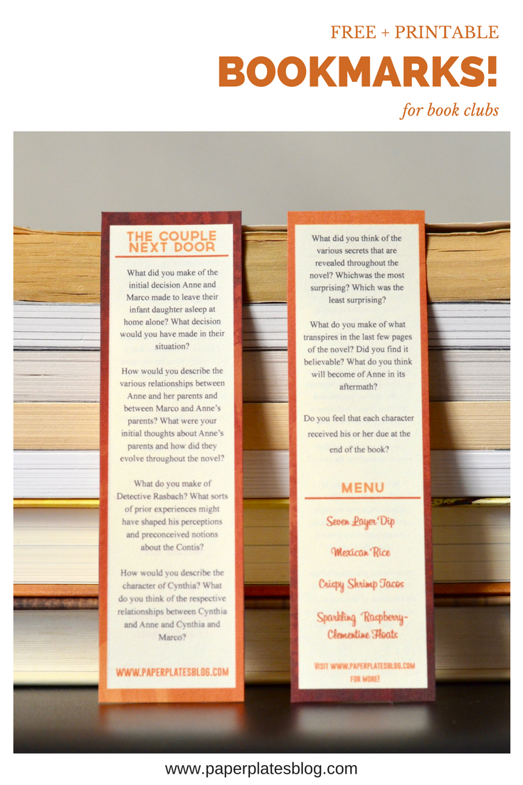 "Free printable book club guide -- on a bookmark! So useful for anyone reading ""The Couple Next Door."""