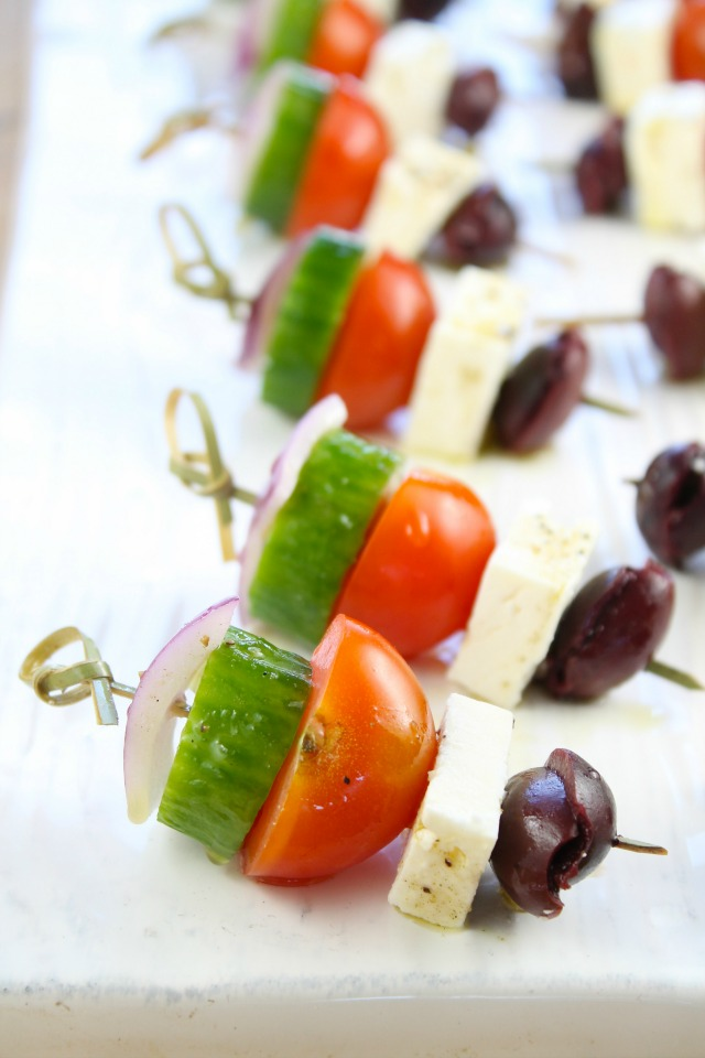Book club menu: Greek salad skewers