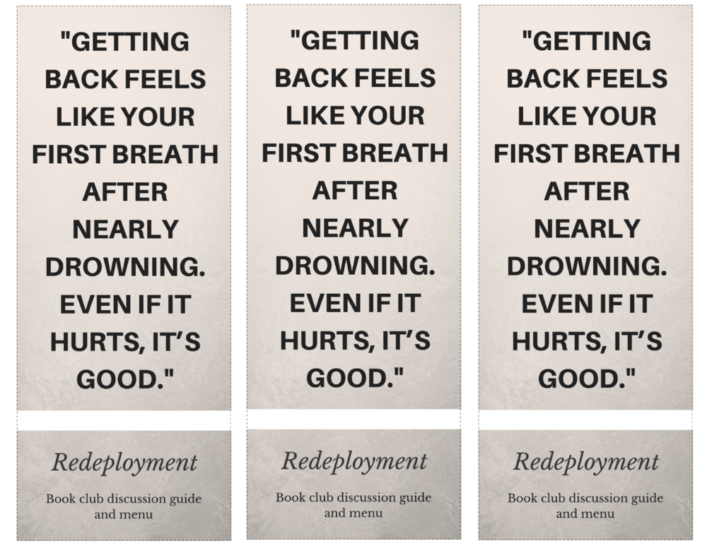 "Free printable bookmark for book clubs reading ""Redeployment"""